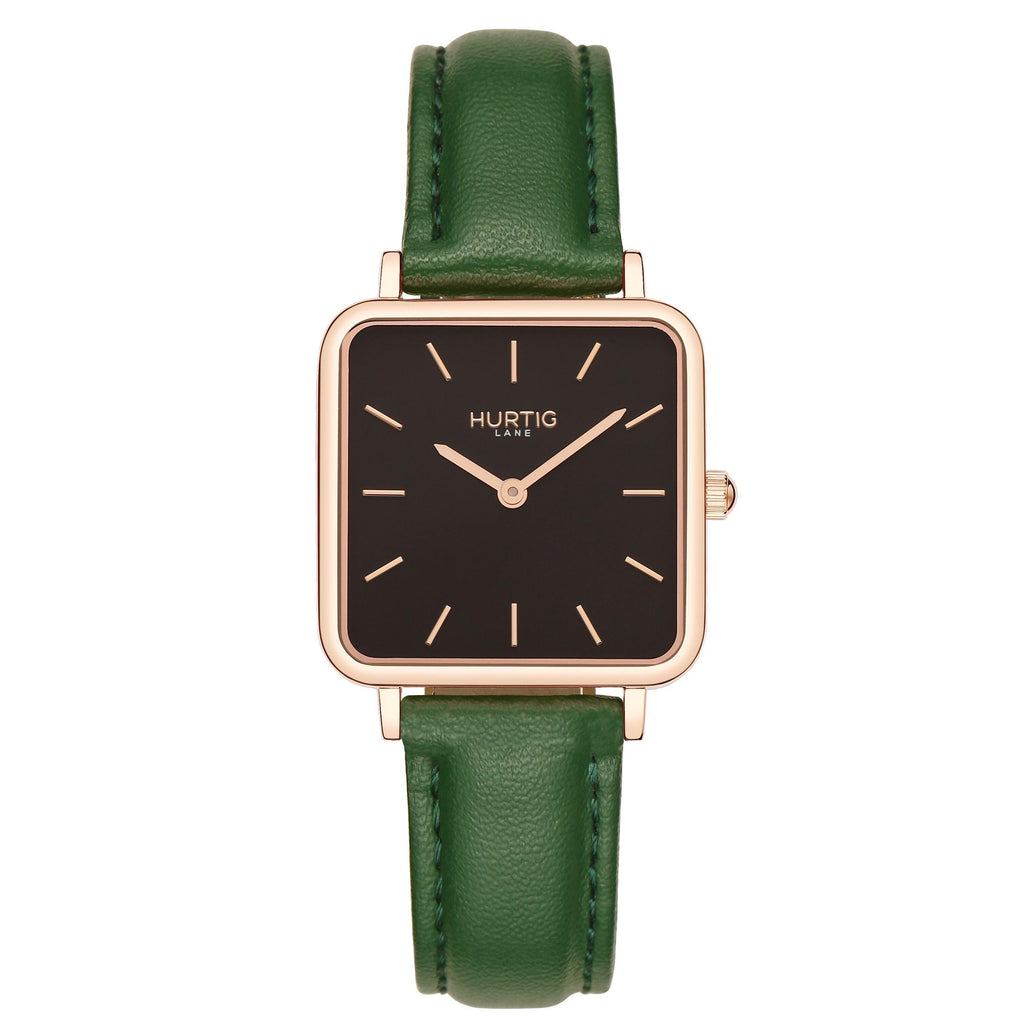 Neliö Square Vegan Leather Rose Gold/Black/Green Watch Hurtig Lane Vegan Watches