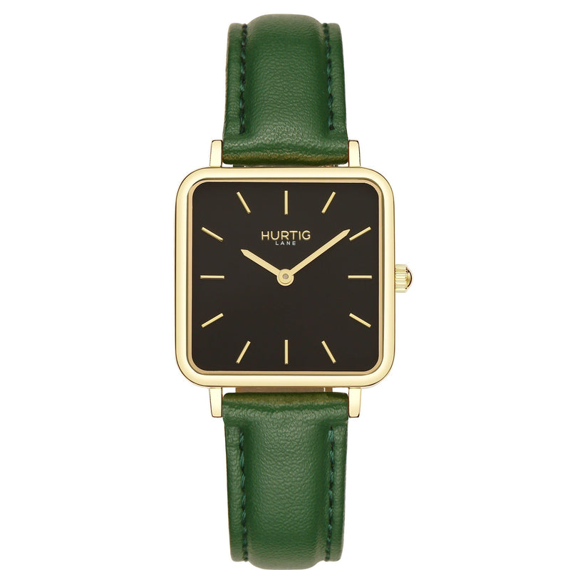 Neliö Square Vegan Leather Gold/Black/Green Watch Hurtig Lane Vegan Watches