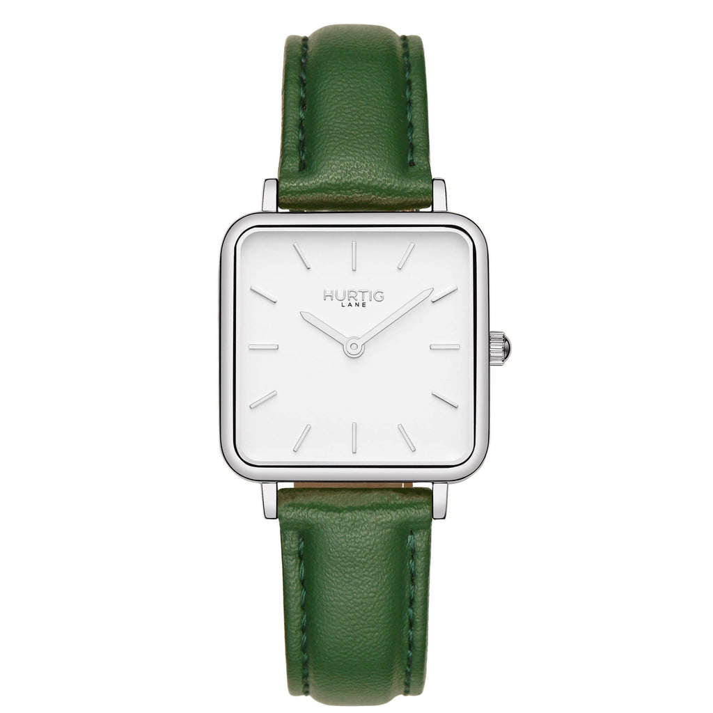 Neliö Square Vegan Leather Silver/White/Green Watch Hurtig Lane Vegan Watches