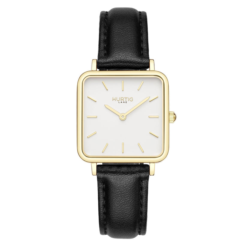 Neliö Square Vegan Leather Gold/White/Tan Watch Hurtig Lane Vegan Watches