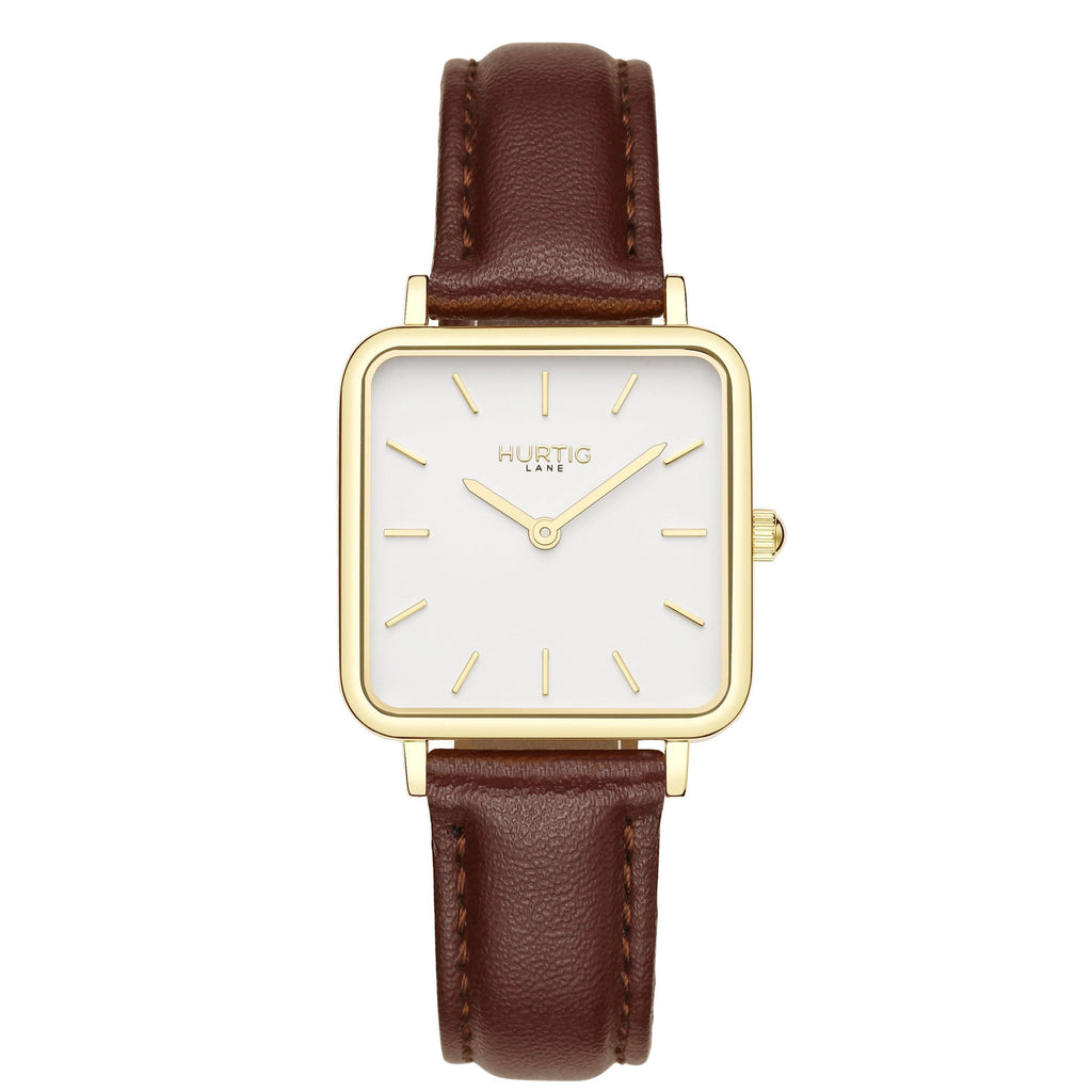 Neliö Square Vegan Leather Gold/White/Chestnut Watch Hurtig Lane Vegan Watches