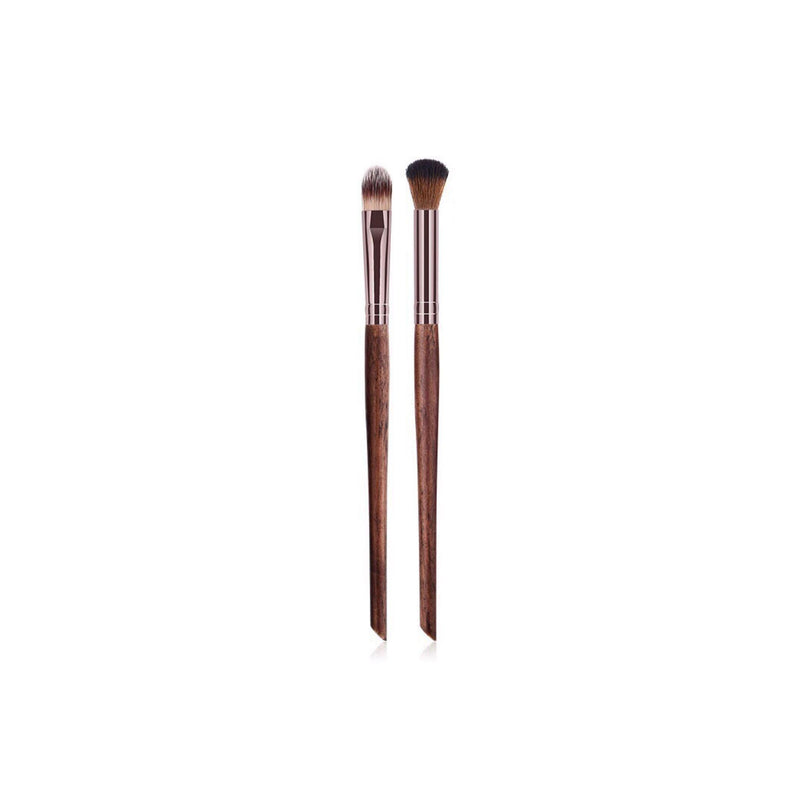 Vegan 2 Piece Eyeshadow Makeup Brush Set- Sustainable Wood and Rose Gold Makeup Brushes Hurtig Lane