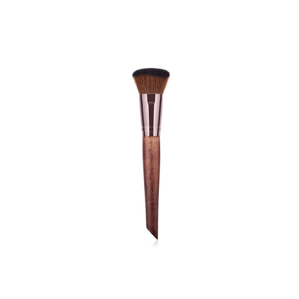 Vegan Curved Concealer/Foundation Makeup Brush- Sustainable Wood and Rose Gold Makeup Brushes Hurtig Lane