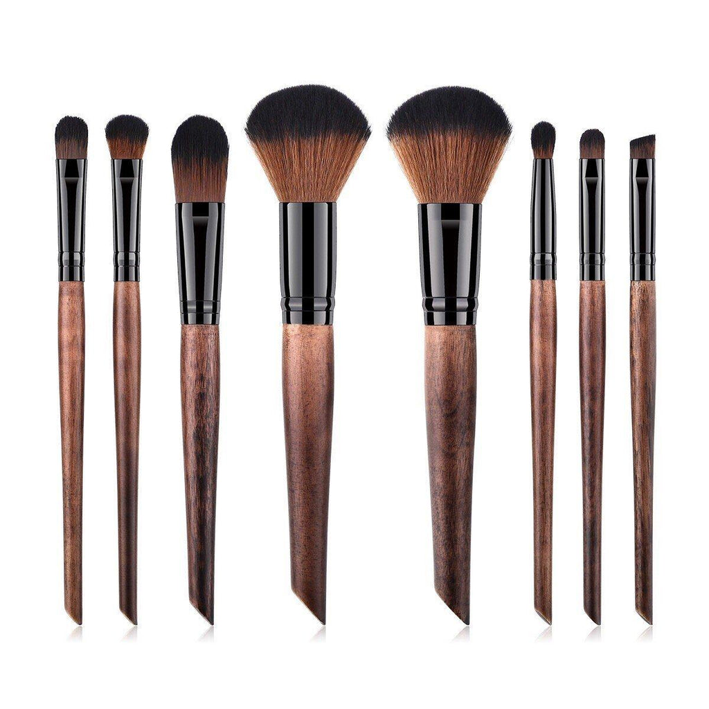 Full Vegan Makeup Brush Set- Sustainable Wood and Black Makeup Brushes Hurtig Lane