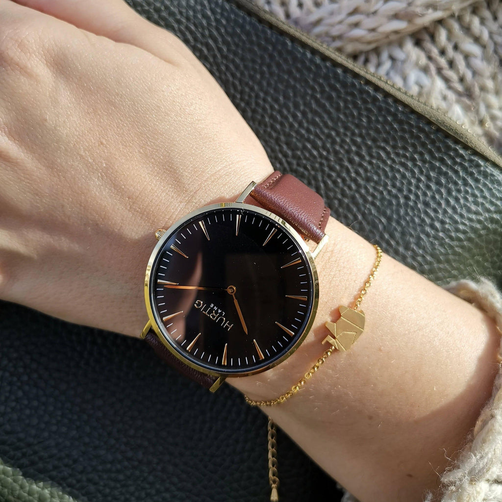 Mykonos Vegan Leather Gold / Black / Chestnut Watch Hurtig Lane Vegan Watches