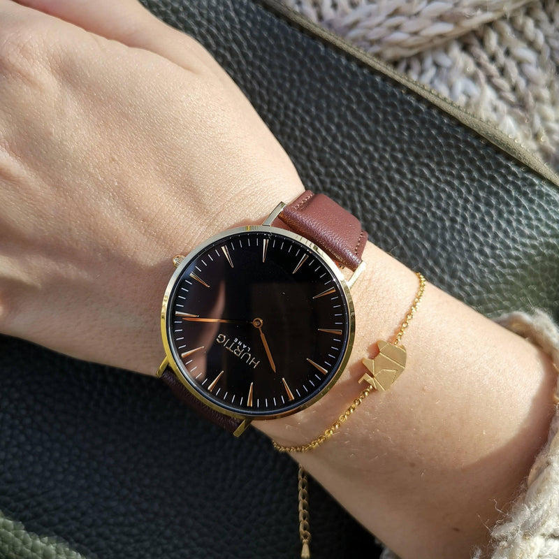 Mykonos Vegan Leather Gold/Black/Chestnut Watch Hurtig Lane Vegan Watches