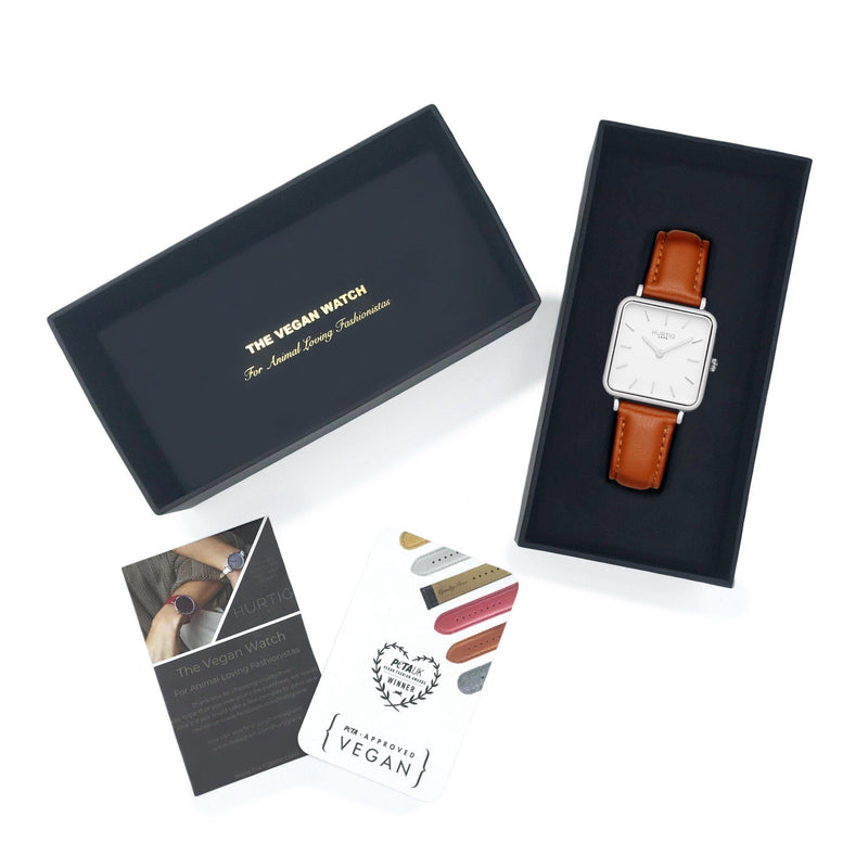 Neliö Square Vegan Leather Silver/White/Tan Watch Hurtig Lane Vegan Watches