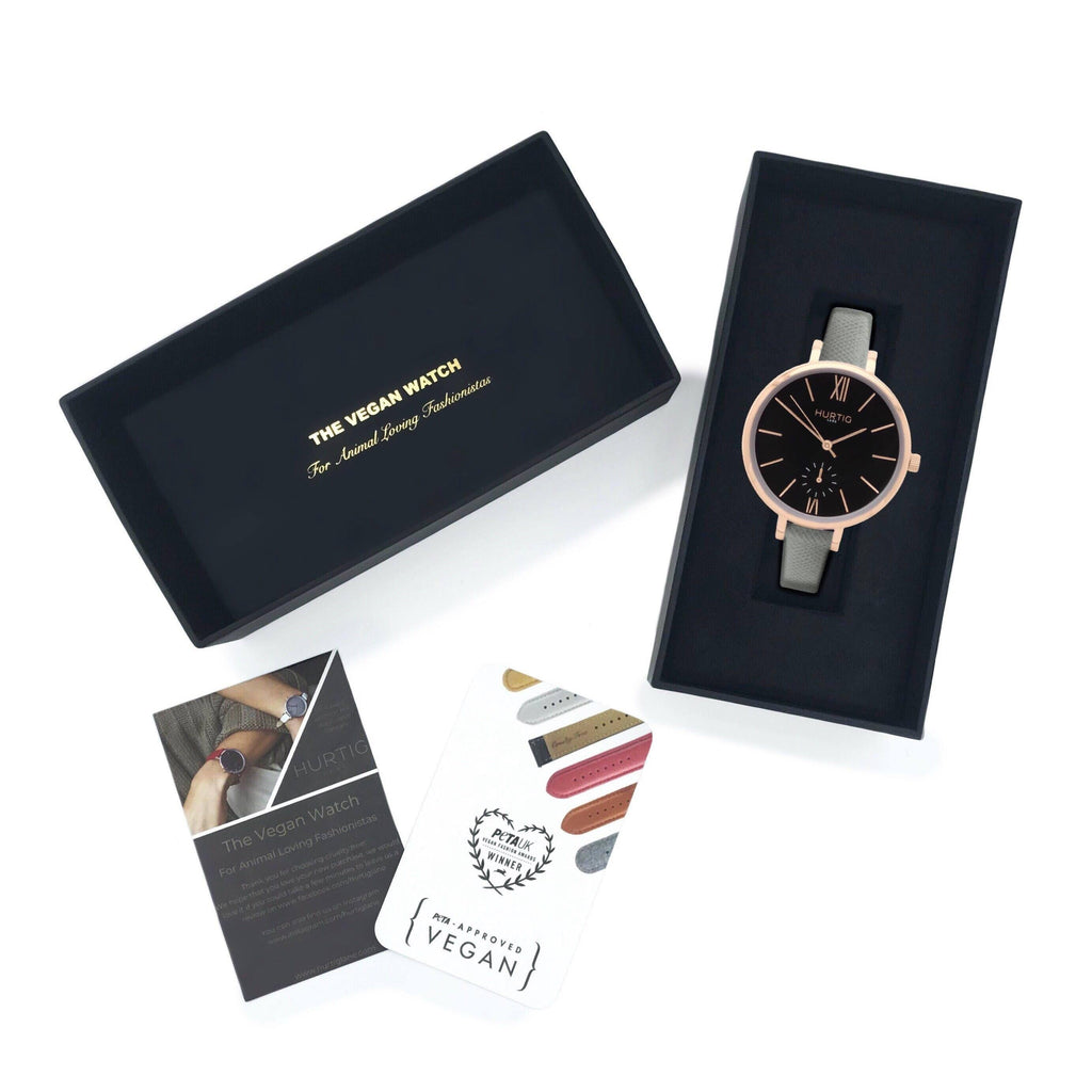Amalfi Petite Vegan Leather Rose Gold/Black/Grey Watch Hurtig Lane Vegan Watches
