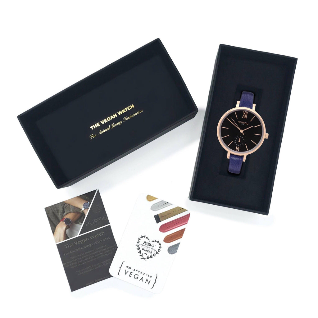 Amalfi Petite Vegan Leather Rose Gold/Black/Marine Blue Watch Hurtig Lane Vegan Watches