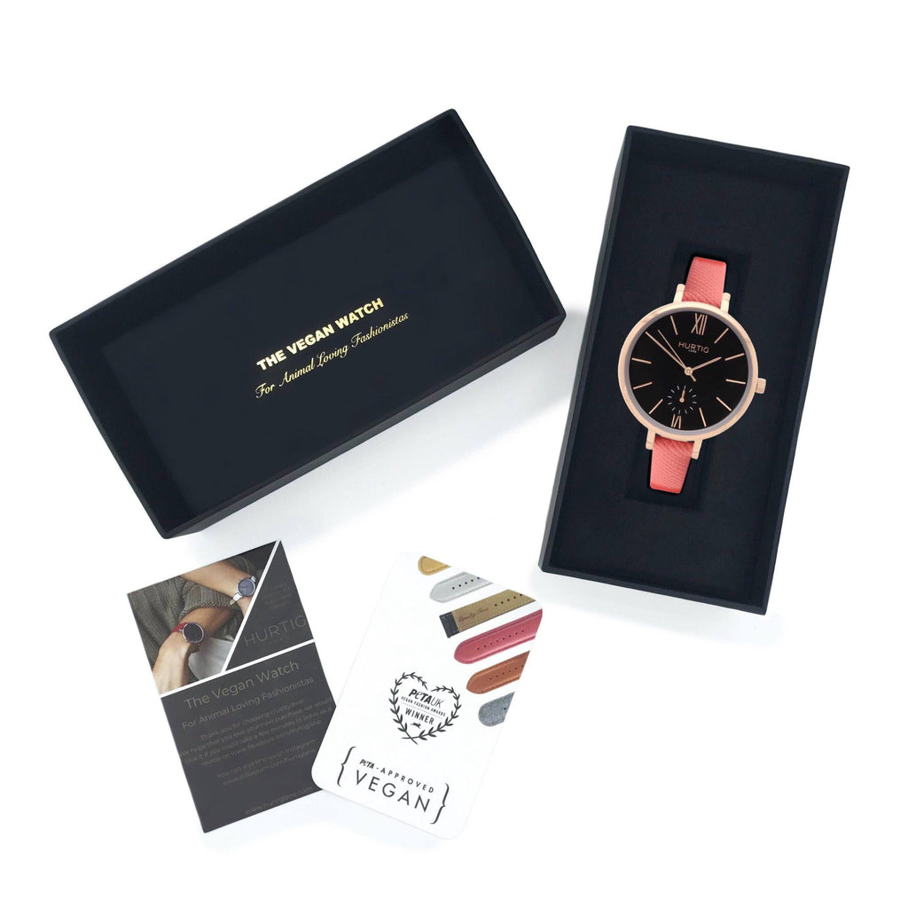 Amalfi Petite Vegan Leather Rose Gold/Black/Coral Watch Hurtig Lane Vegan Watches