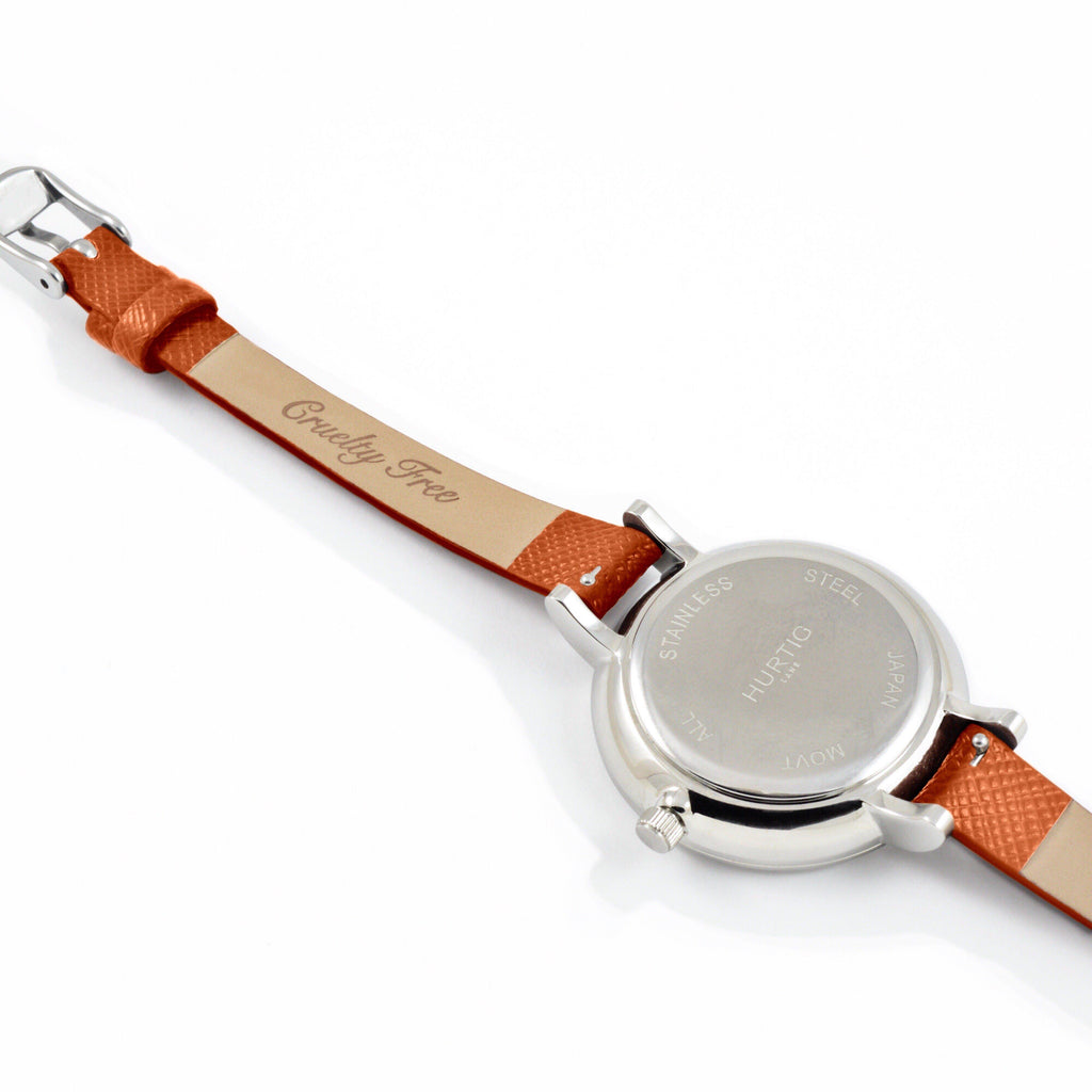 Amalfi Petite Vegan Leather Silver/Black/Tan Watch Hurtig Lane Vegan Watches