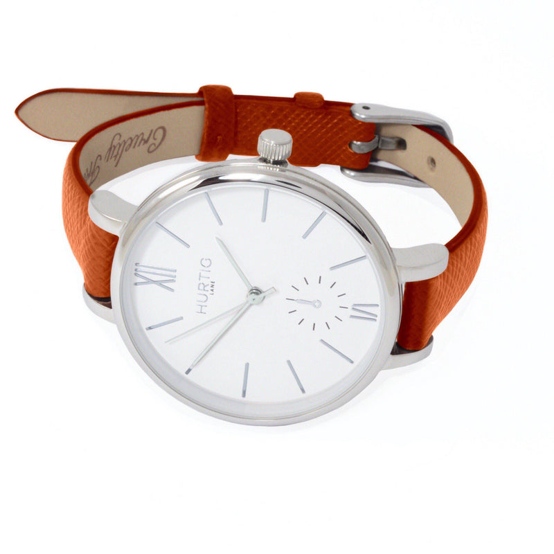 Amalfi Petite Vegan Leather Silver/White/Tan Watch Hurtig Lane Vegan Watches