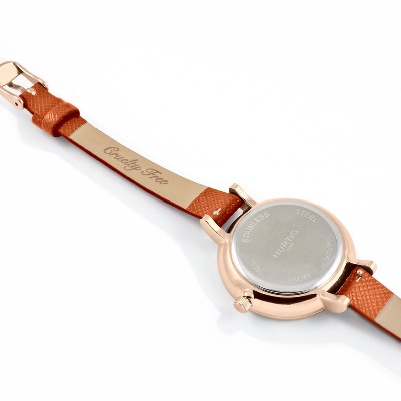 Amalfi Petite Vegan Leather Rose Gold/Grey/Tan Watch Hurtig Lane Vegan Watches