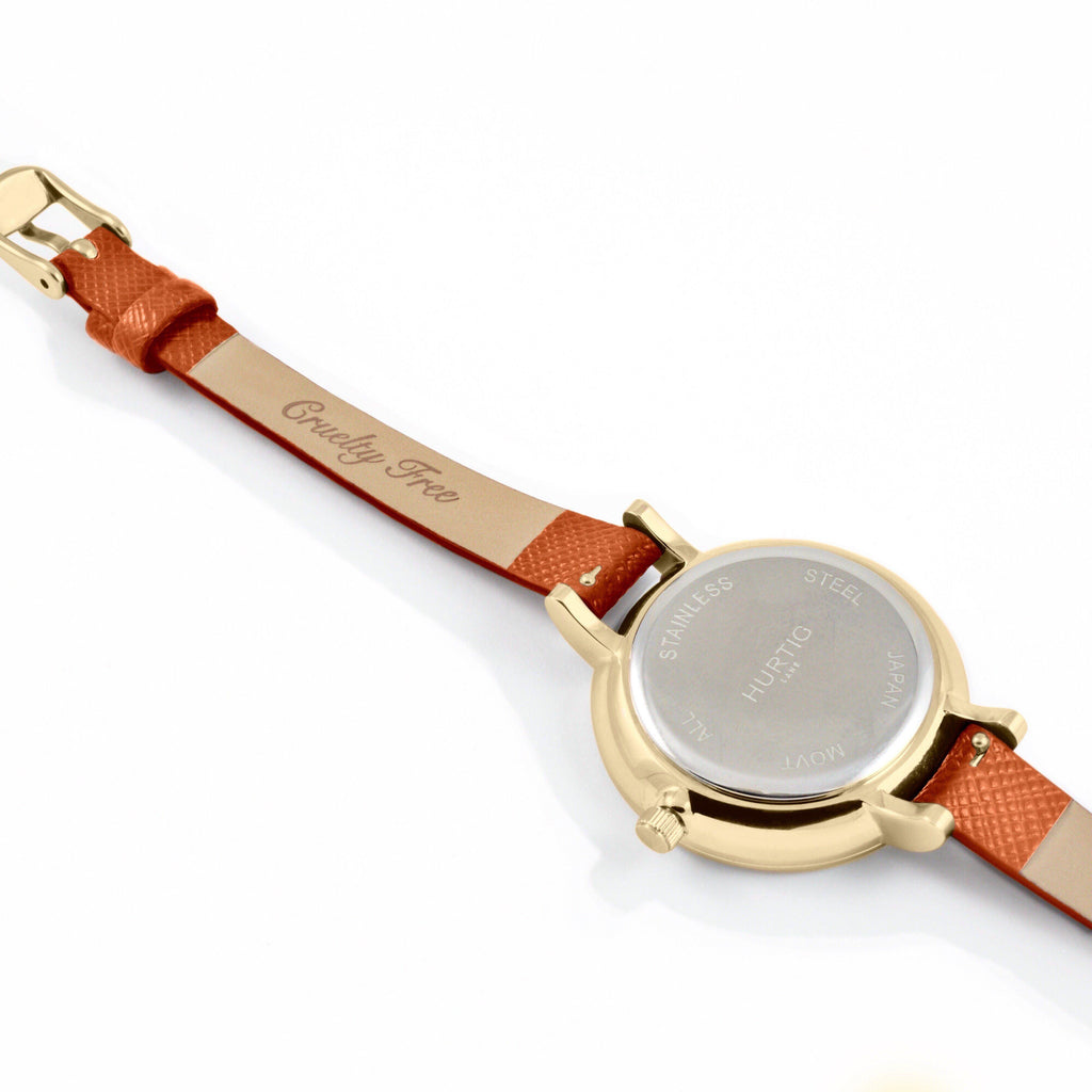 Amalfi Petite Vegan Leather Gold/Grey/Tan Watch Hurtig Lane Vegan Watches