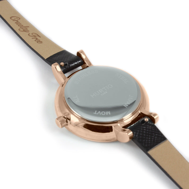 Amalfi Petite Vegan Leather Rose Gold/White/Black Watch Hurtig Lane Vegan Watches