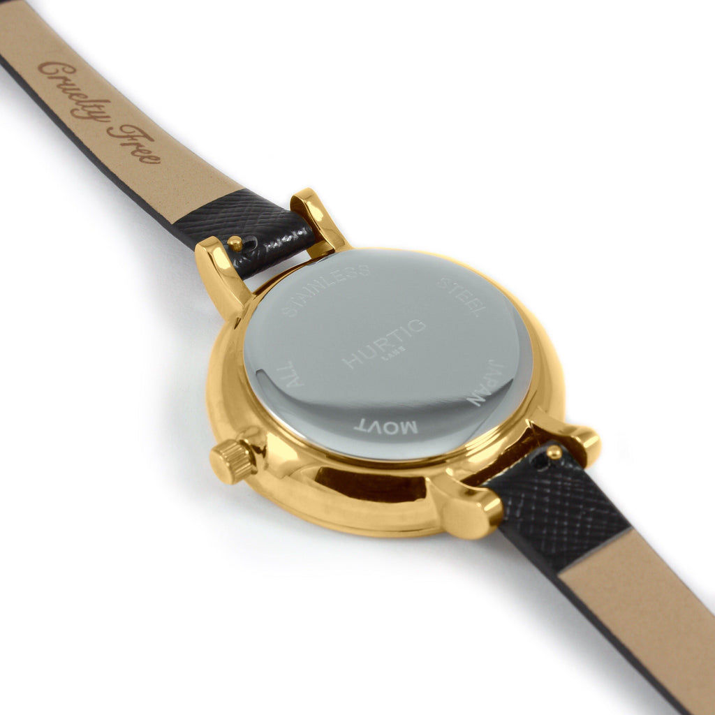 Amalfi Petite Vegan Leather Gold/Grey/Black Watch Hurtig Lane Vegan Watches