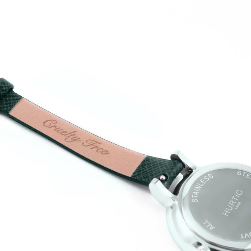 Amalfi Petite Vegan Leather Silver/White/Forest Green Watch Hurtig Lane Vegan Watches