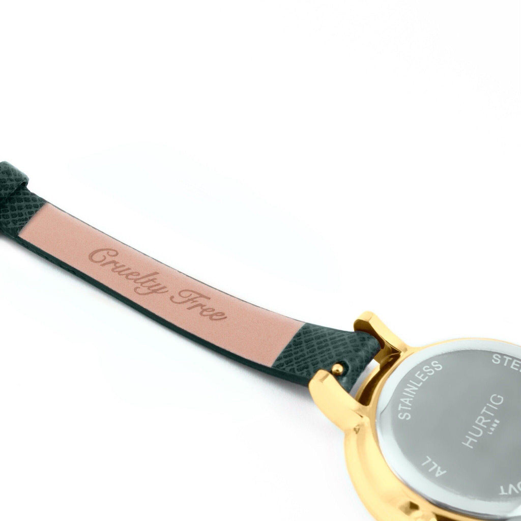 Amalfi Petite Vegan Leather Gold/Grey/Forest Green Watch Hurtig Lane Vegan Watches