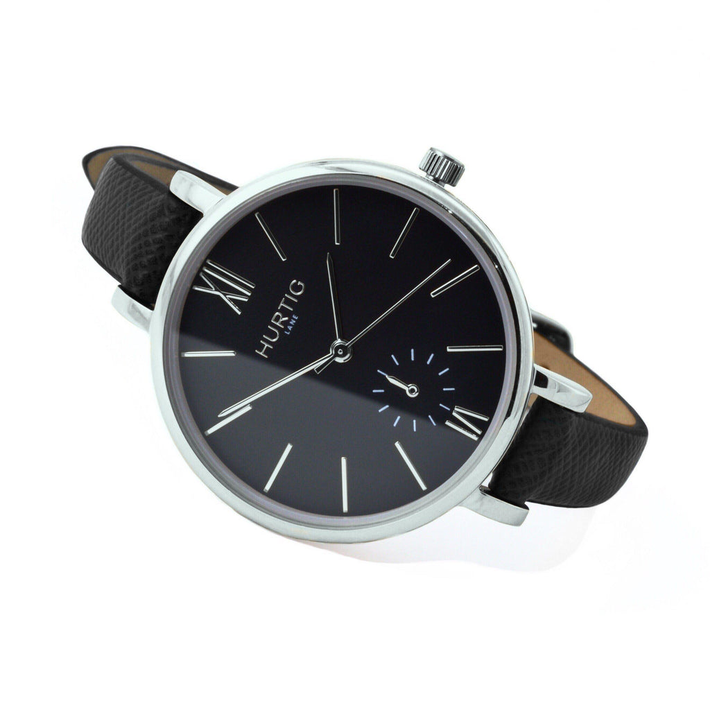 Amalfi Petite Vegan Leather Silver/Black/Black Watch Hurtig Lane Vegan Watches