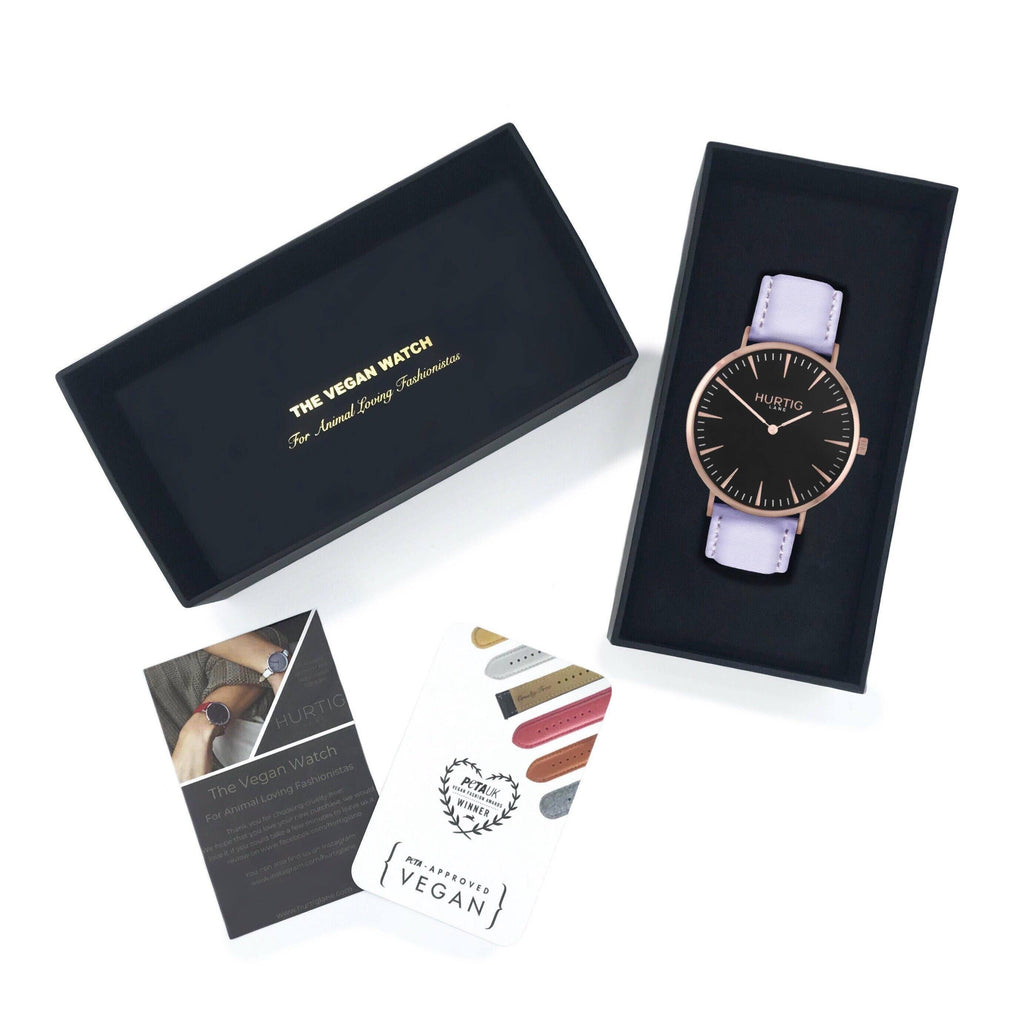 Mykonos Vegan Leather Rose Gold/Black/Lilac Watch Hurtig Lane Vegan Watches