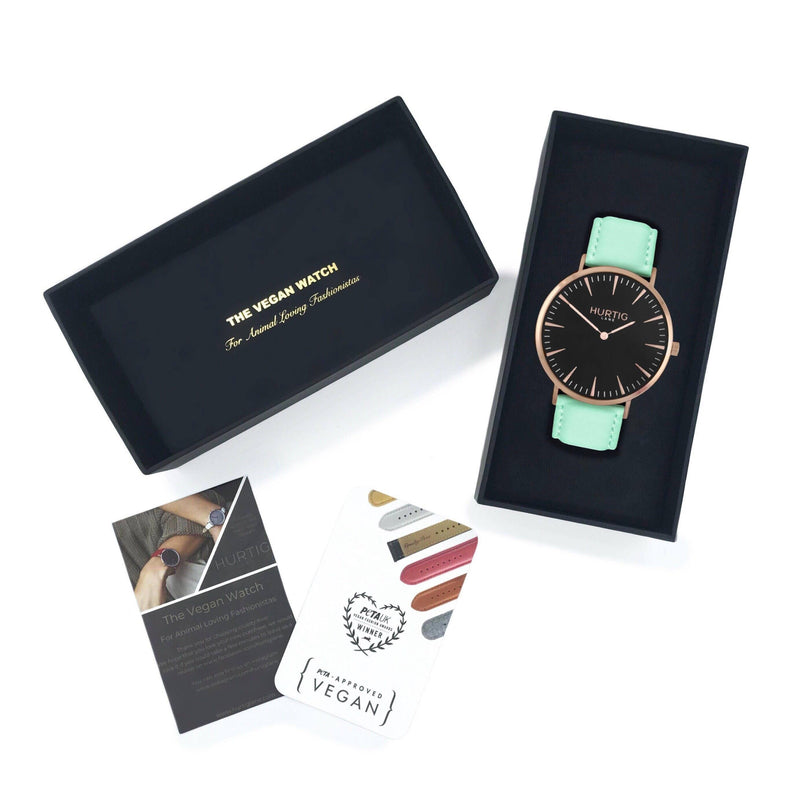 Mykonos Vegan Leather Rose Gold/Black/Mint Watch Hurtig Lane Vegan Watches