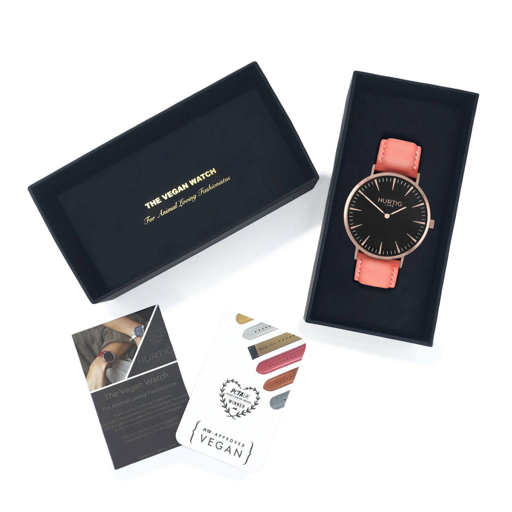 Mykonos Vegan Leather Rose Gold/Black/Coral Watch Hurtig Lane Vegan Watches