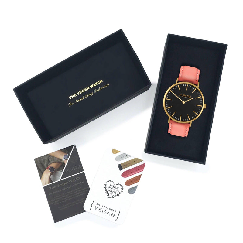 Mykonos Vegan Leather Gold/Black/Coral Watch Hurtig Lane Vegan Watches