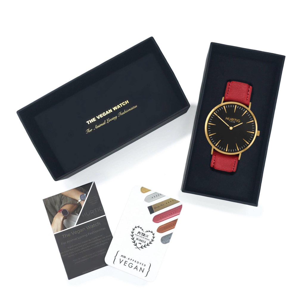 Mykonos Vegan Leather Gold/Black/Cherry Watch Hurtig Lane Vegan Watches