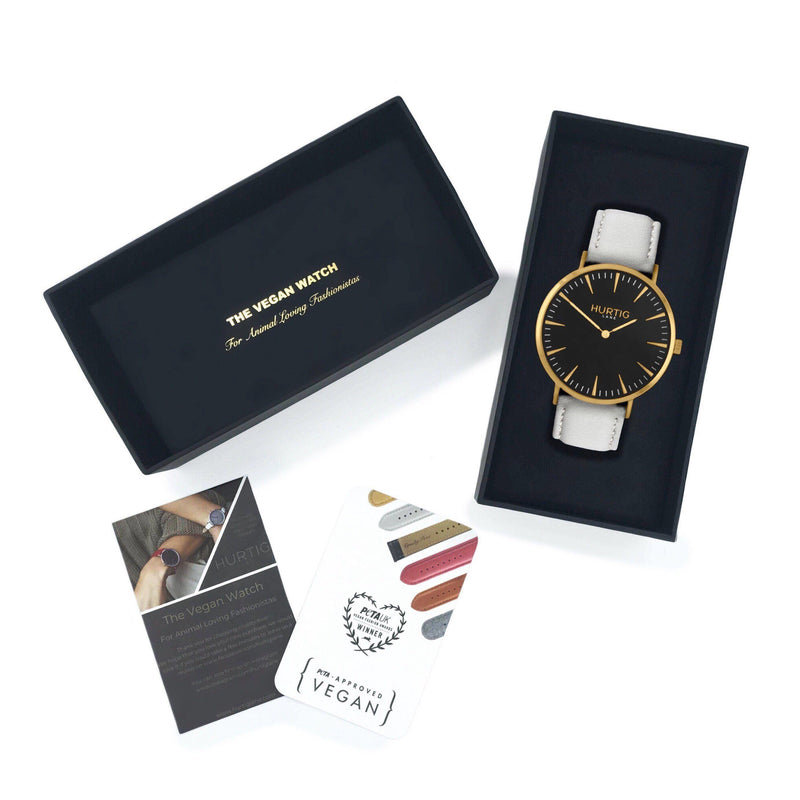 Mykonos Vegan Leather Gold/Black/Cloud Watch Hurtig Lane Vegan Watches