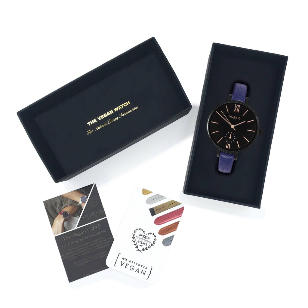 Amalfi Petite Vegan Leather Black/Black/Marine Blue Watch Hurtig Lane Vegan Watches