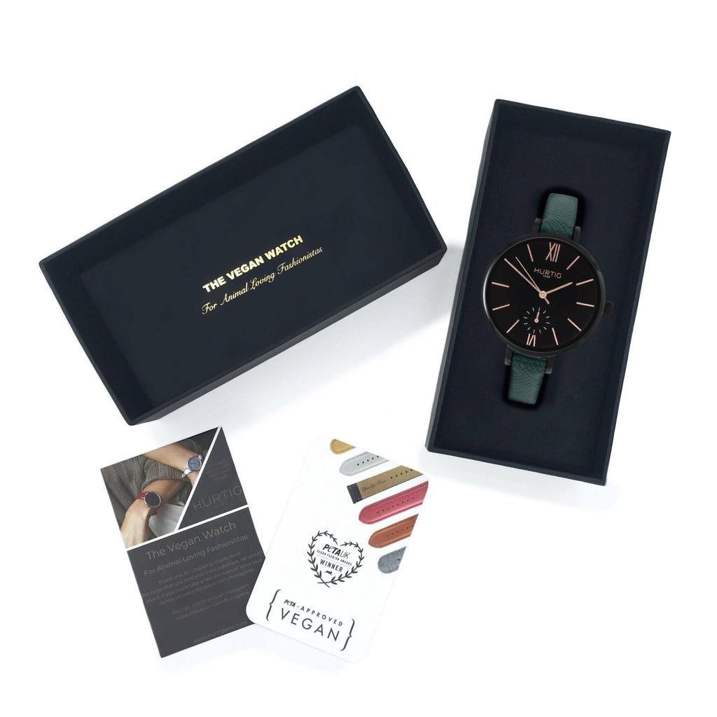 Amalfi Petite Vegan Leather Black/Black/Forest Green Watch Hurtig Lane Vegan Watches