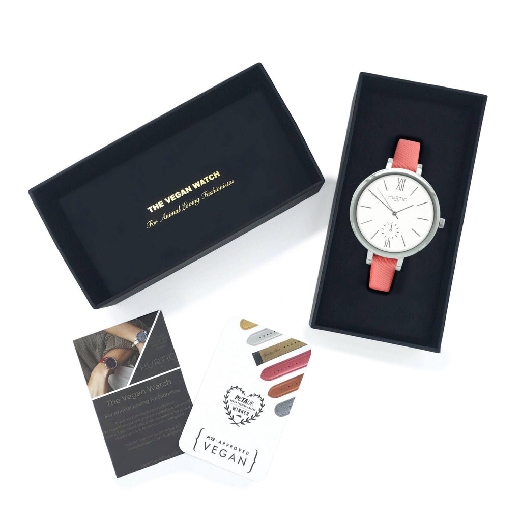 Amalfi Petite Vegan Leather Silver/White/Coral Watch Hurtig Lane Vegan Watches