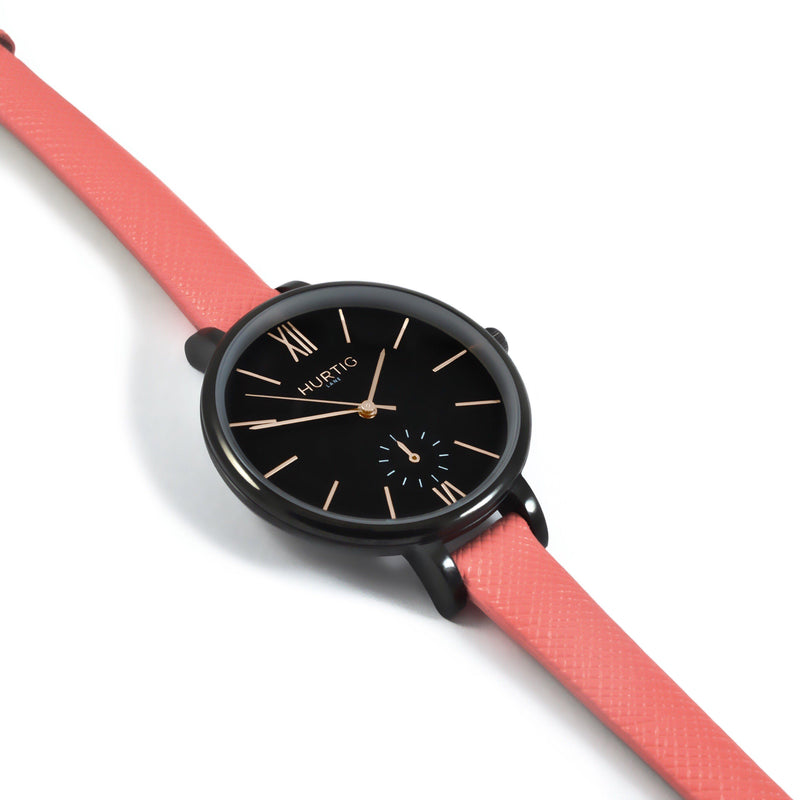 Amalfi Petite Vegan Leather Black/Black/Coral Watch Hurtig Lane Vegan Watches