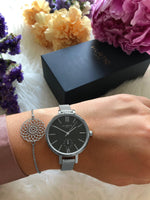 Amalfi Petite Stainless Steel Silver/Black/Silver Watch Hurtig Lane Vegan Watches