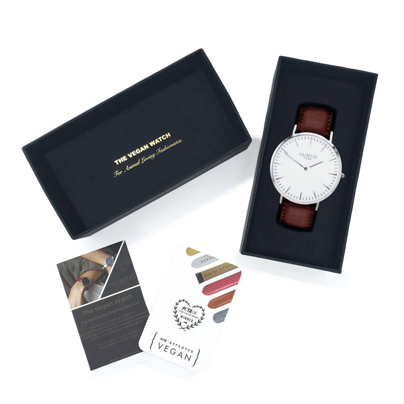Mykonos Vegan Leather Silver/White/Chestnut Watch Hurtig Lane Vegan Watches