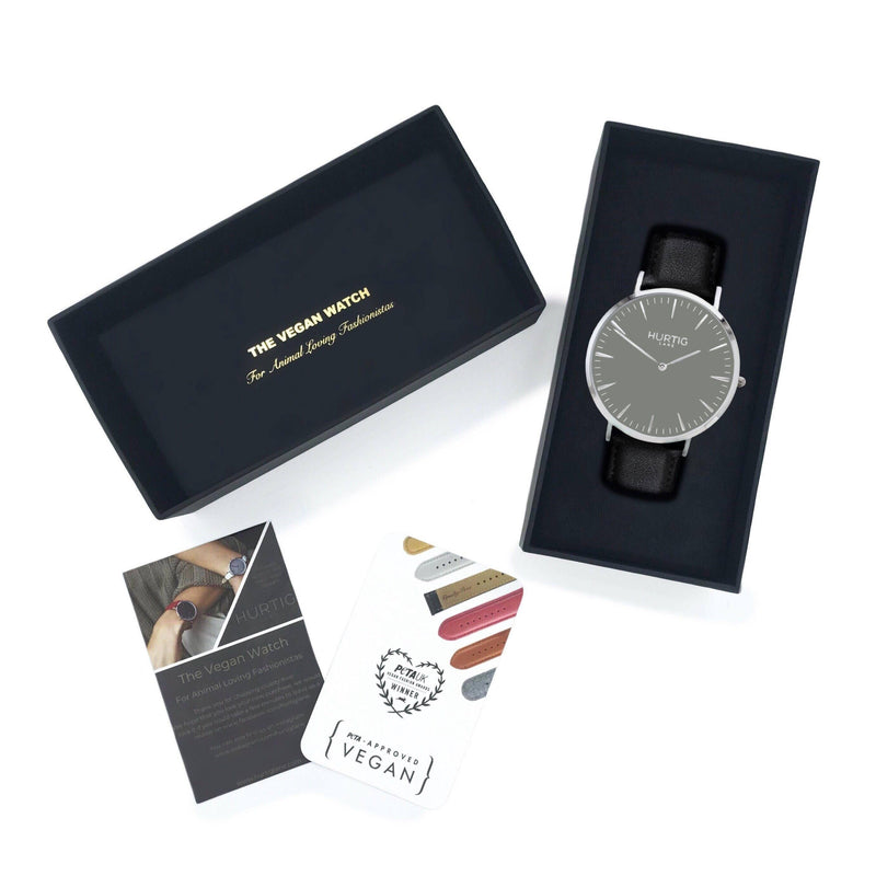 Mykonos Vegan Leather Watch Silver/Grey/Black Watch Hurtig Lane Vegan Watches