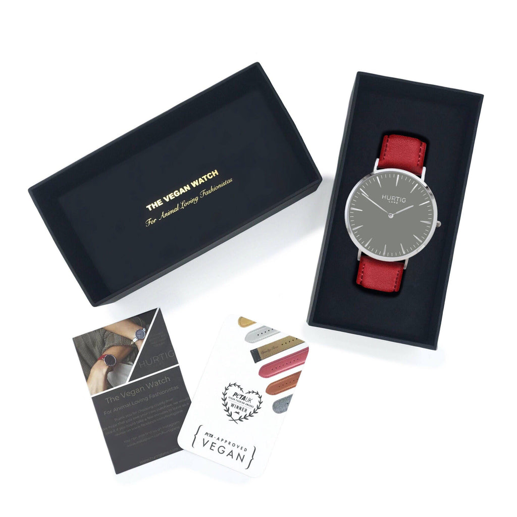 Mykonos Vegan Leather Watch Silver/Grey/Red Watch Hurtig Lane Vegan Watches
