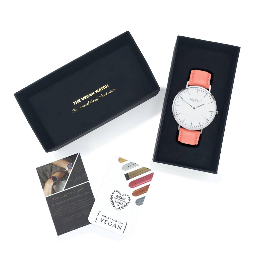 Mykonos Vegan Leather Silver/White/Coral Watch Hurtig Lane Vegan Watches