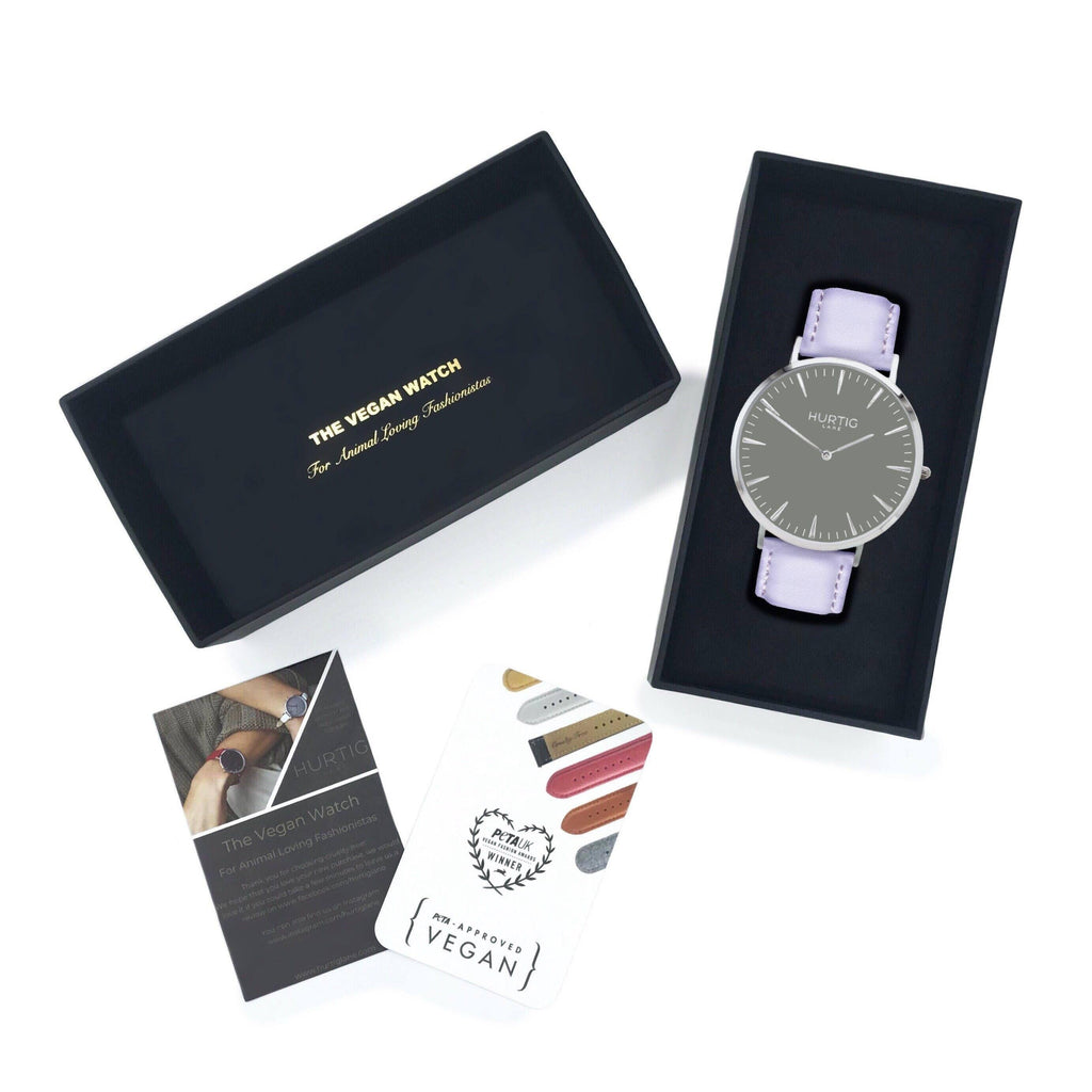 Mykonos Vegan Leather Watch Silver/Grey/Lilac Watch Hurtig Lane Vegan Watches