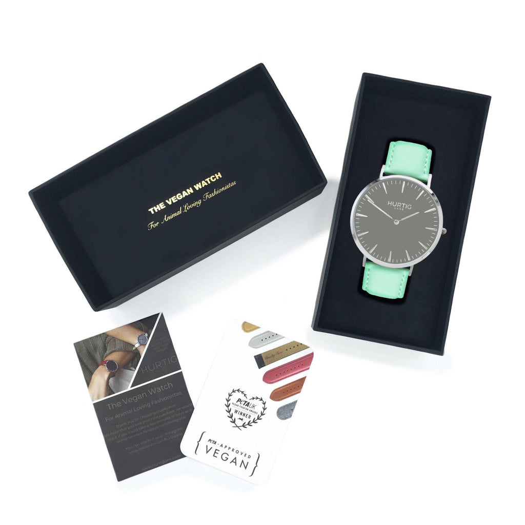 Mykonos Vegan Leather Watch Silver/Grey/Mint Watch Hurtig Lane Vegan Watches