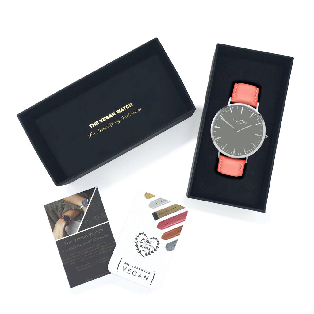Mykonos Vegan Leather Watch Silver/Grey/Coral Watch Hurtig Lane Vegan Watches