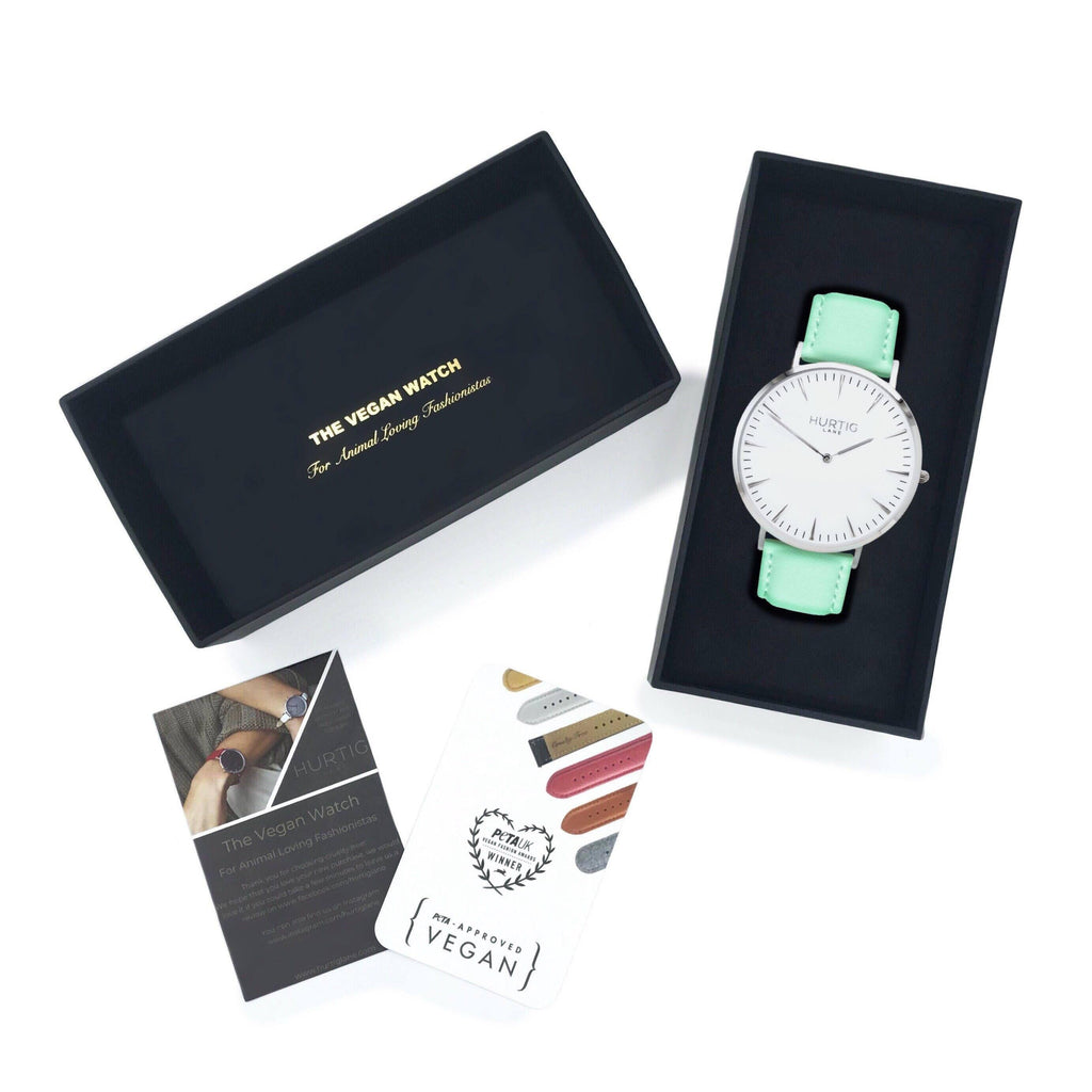 Mykonos Vegan Leather Silver/White/Mint Watch Hurtig Lane Vegan Watches