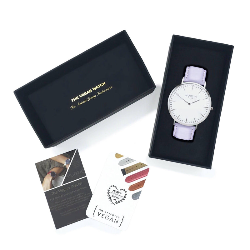 Mykonos Vegan Leather Silver/White/Lilac Watch Hurtig Lane Vegan Watches
