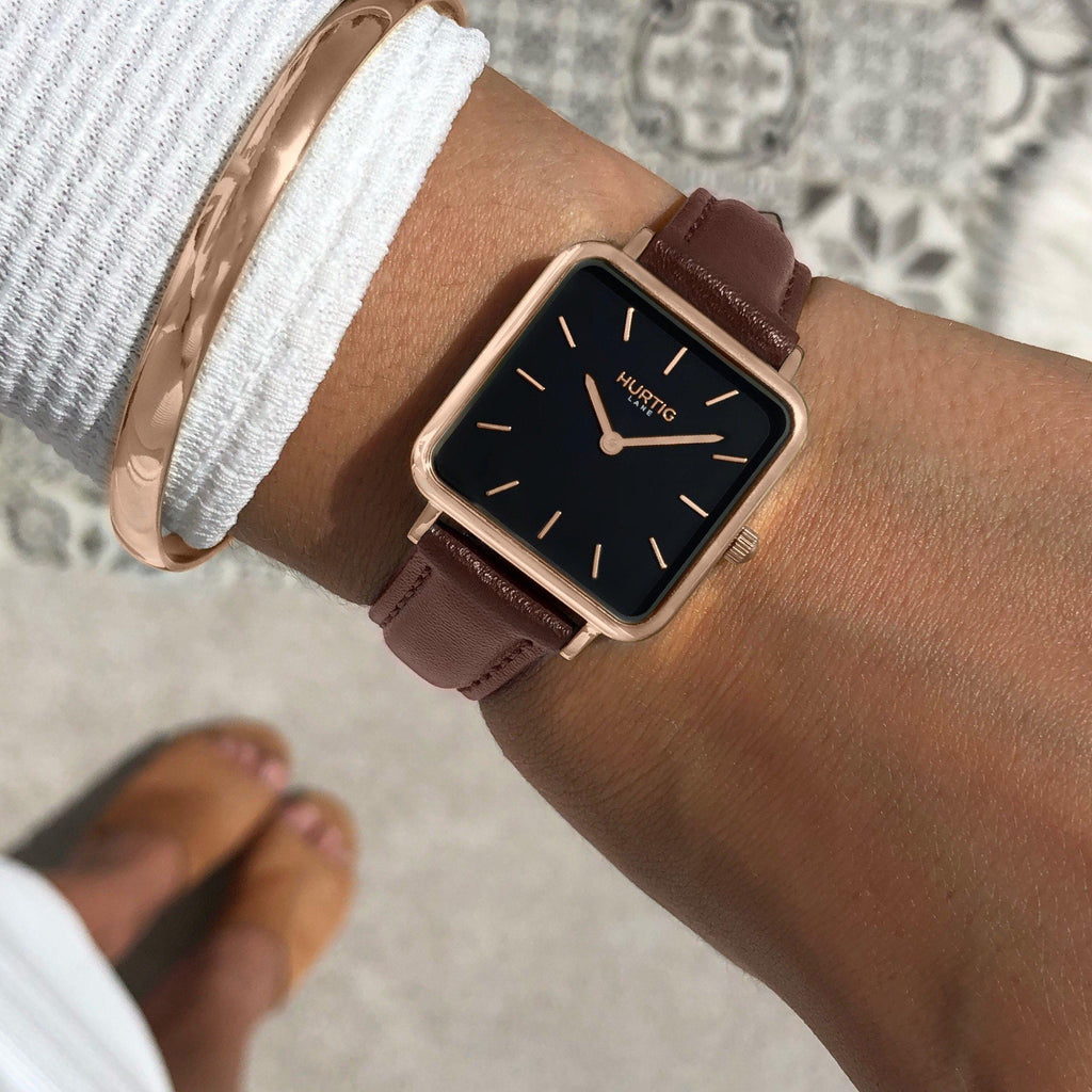 Neliö Square Vegan Leather Watch Rose Gold/Black/Chestnut Watch Hurtig Lane Vegan Watches
