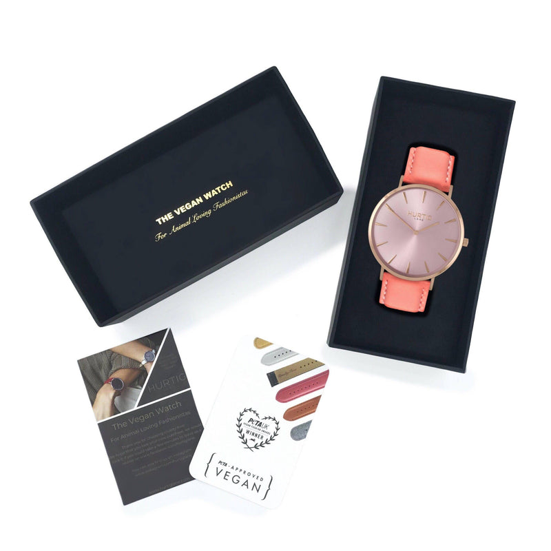 Mykonos Vegan Leather All Rose/Coral Watch Hurtig Lane Vegan Watches