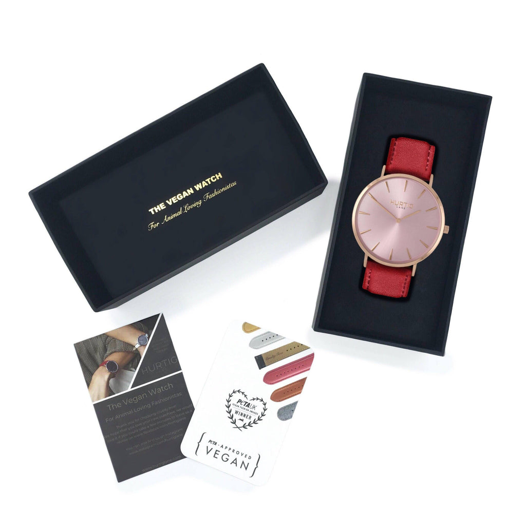 Mykonos Vegan Leather Watch All Rose/Cherry Red Watch Hurtig Lane Vegan Watches