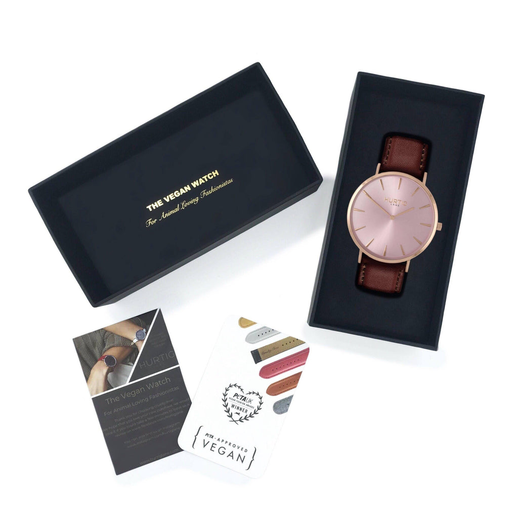 Mykonos Vegan Leather All Rose/Chestnut Watch Hurtig Lane Vegan Watches