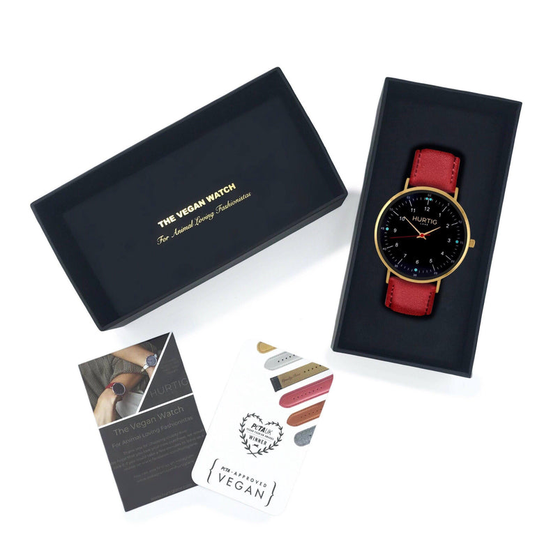 Women's vegan watch gold & cherry red