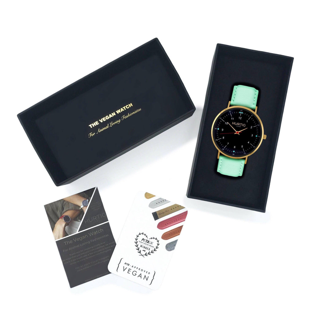 Moderna Vegan Leather Watch Gold/Black/Mint Watch Hurtig Lane Vegan Watches