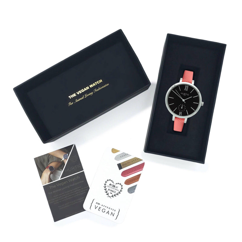 Women's vegan watch petite style silver/black with a vegan leather coral strap